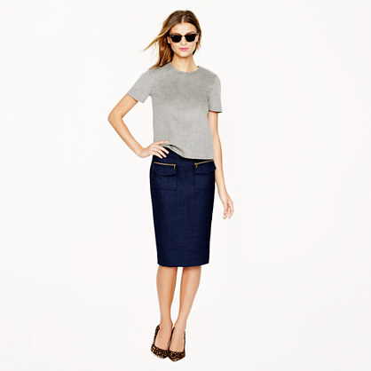 Petite patch-pocket pencil skirt