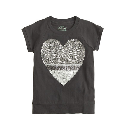 Girls' colorblock sequin heart T-shirt