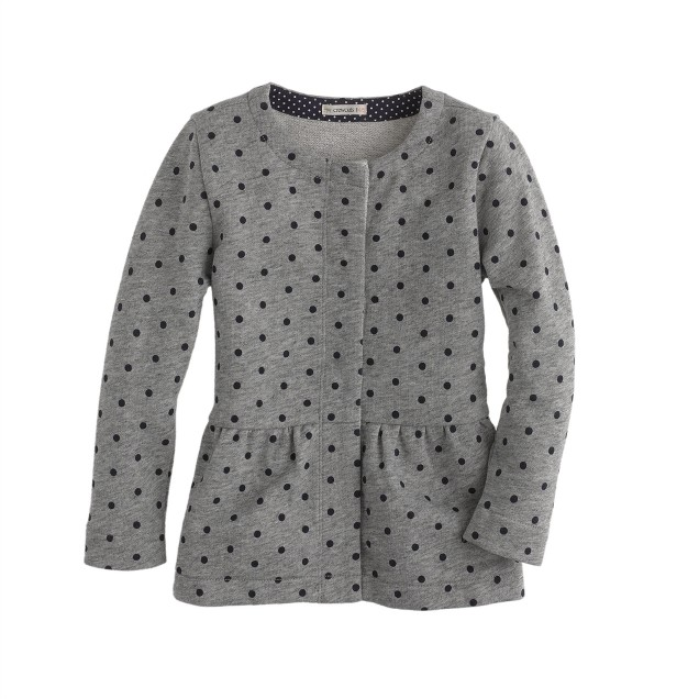 Girls' dotted peplum jacket