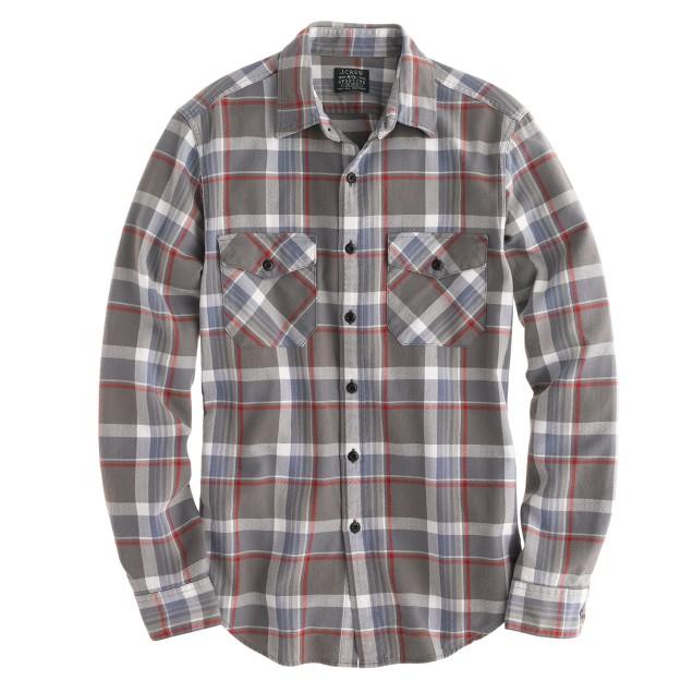 Flannel shirt in wet gravel herringbone plaid