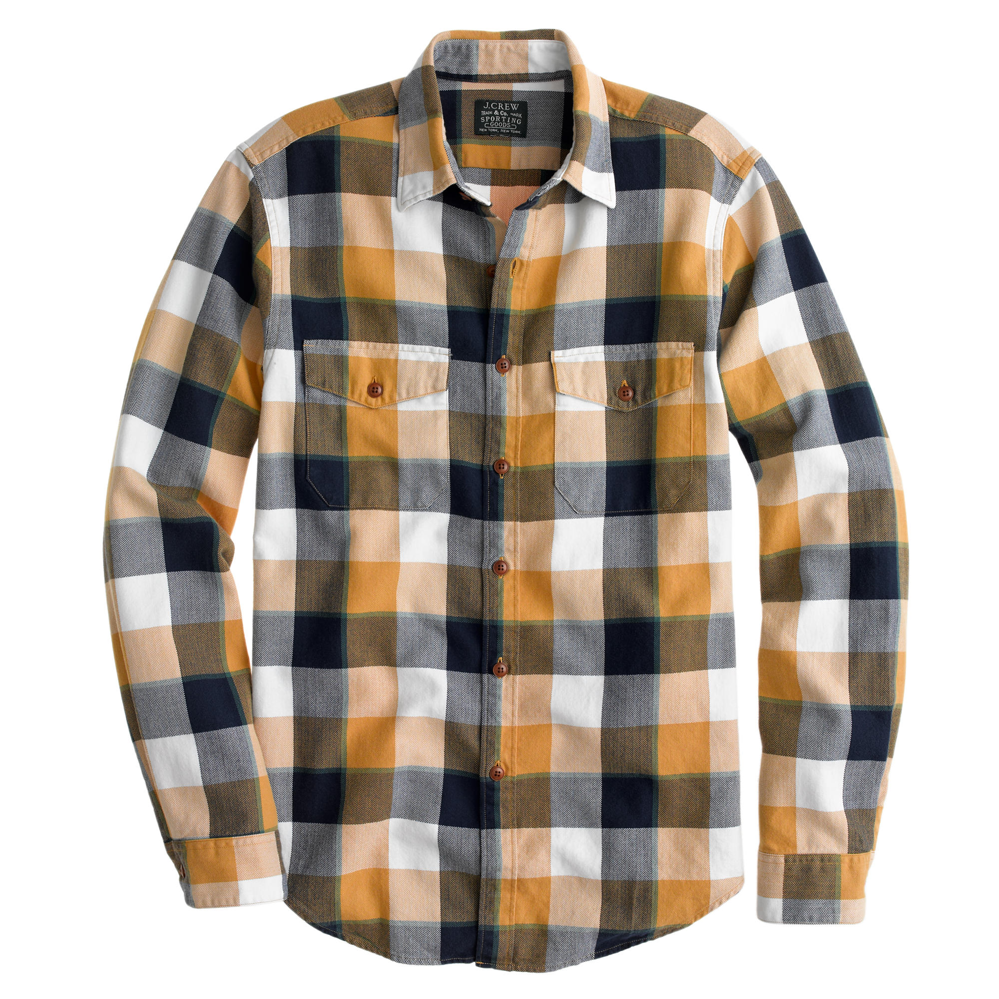 Flannel shirt in classic herringbone plaid j crew for How to wash flannel shirts