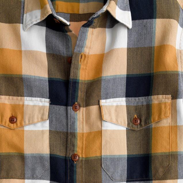 Flannel shirt in classic herringbone plaid