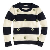 Girls' jeweled stripe sweater