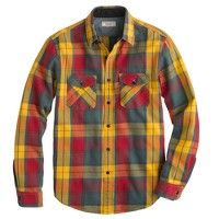 Wallace & Barnes heavyweight flannel shirt in heron grey plaid