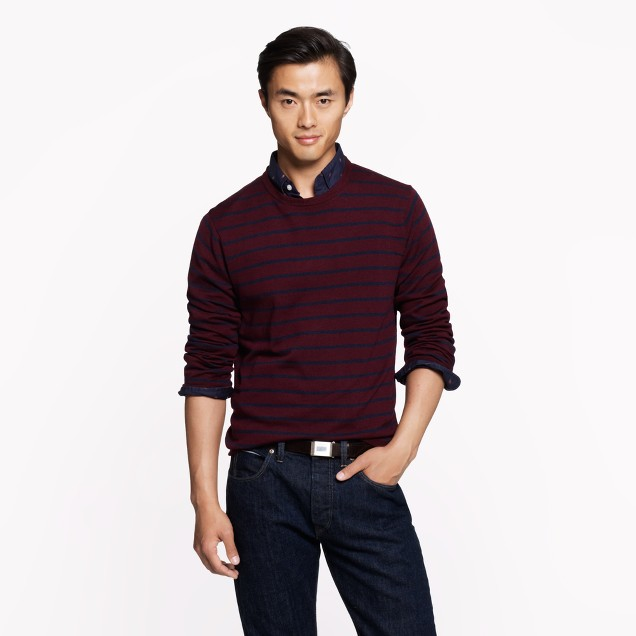 Slim merino sweater in heather cranberry stripe