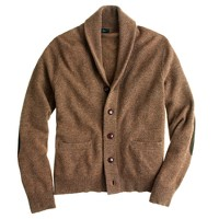 Lambswool shawl-collar elbow-patch sweater