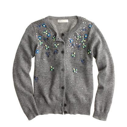 Girls' cashmere jeweled cardigan