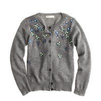 Girls' cashmere jeweled cardigan