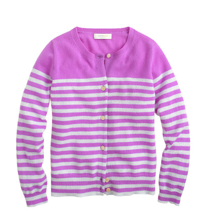 Girls' cashmere cardigan in placed stripe