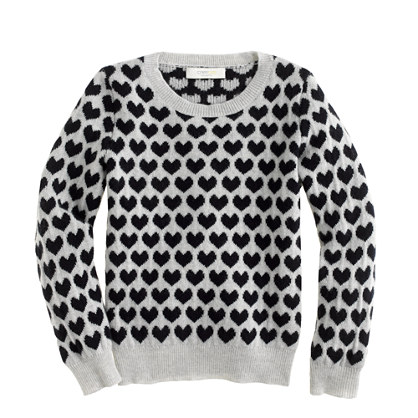 Girls' cashmere long-sleeve tee in heart print