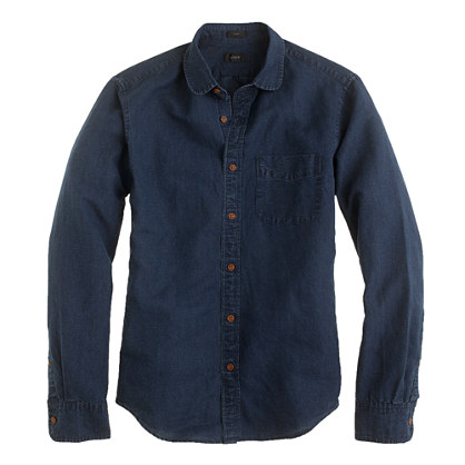 Slim indigo club-collar shirt