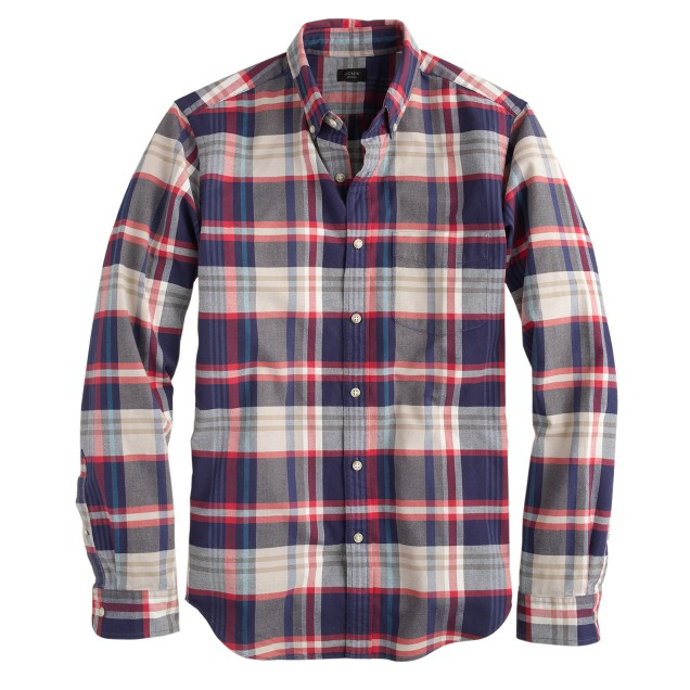 Slim vintage oxford shirt in dusty bamboo plaid