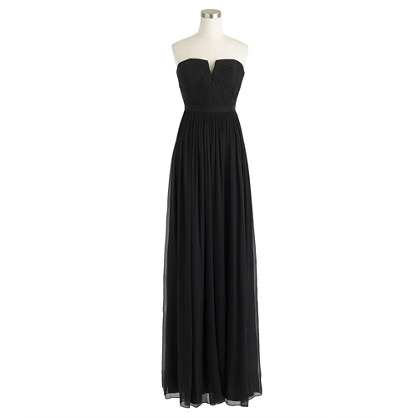 Petite Nadia long dress in silk chiffon