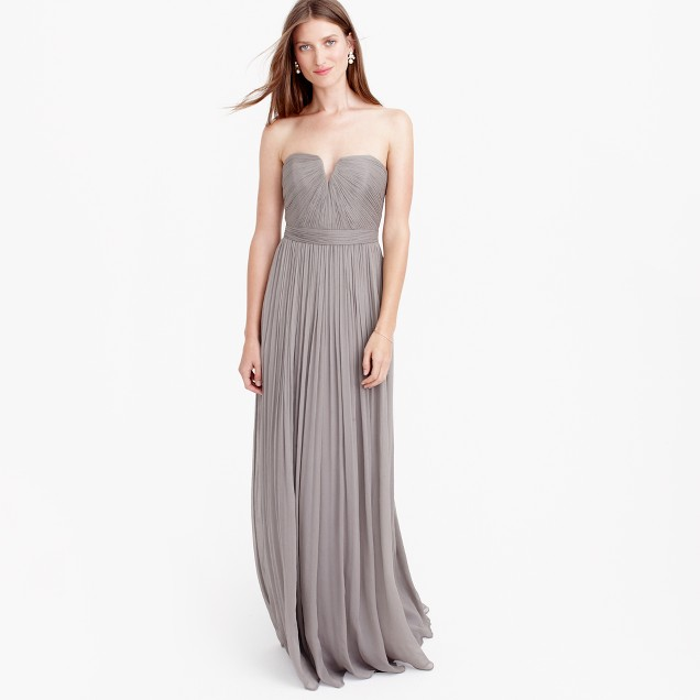 Petite Nadia long dress in silk chiffon