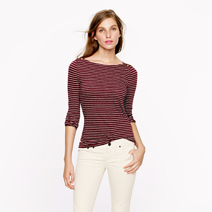 Painter button boatneck tee in skinny stripe