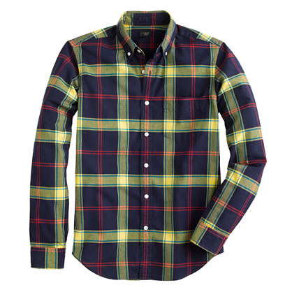 Slim vintage oxford shirt in navy plaid