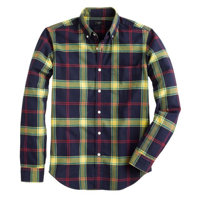 Slim vintage oxford shirt in navy plaid