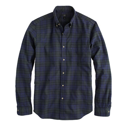 Slim vintage oxford shirt in night shadow plaid