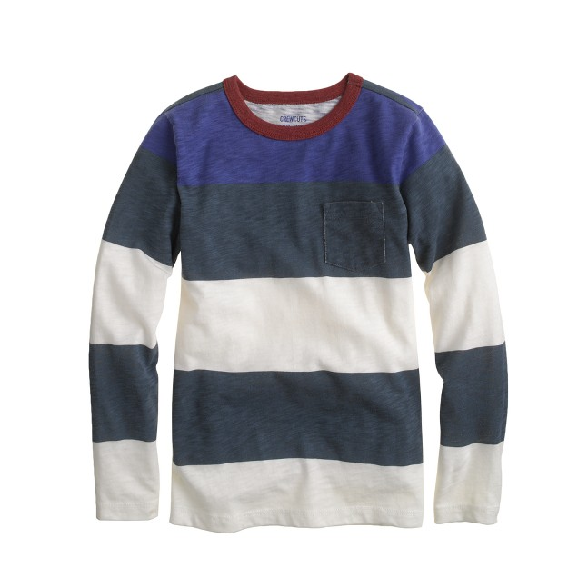 Boys' long-sleeve ringer pocket tee in colorblock stripe