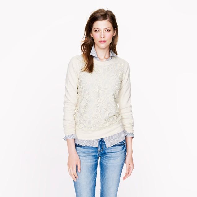 Lace-front sweatshirt