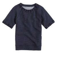 Jeweled short-sleeve sweatshirt