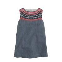 Girls' embellished chambray smock dress