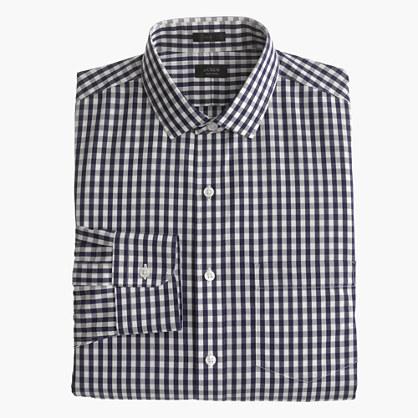 Ludlow Traveler shirt in navy gingham