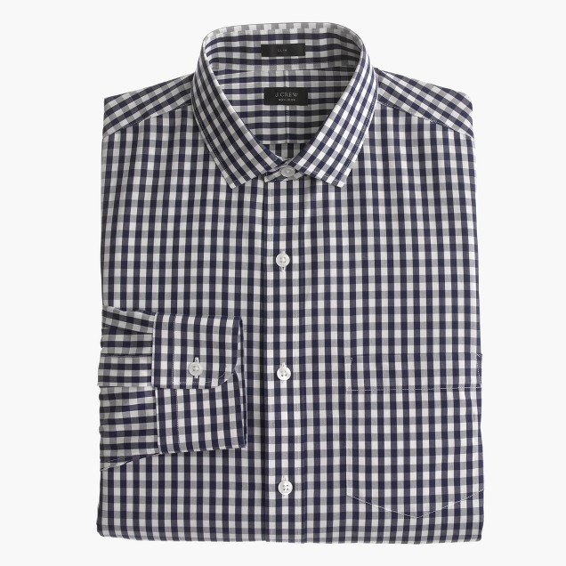 Ludlow Traveler shirt in navy gingham