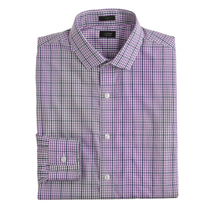 Ludlow Traveler shirt in purple check