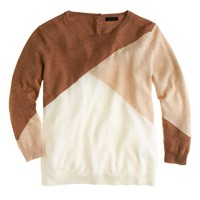 Collection cashmere button-back sweater in colorblock