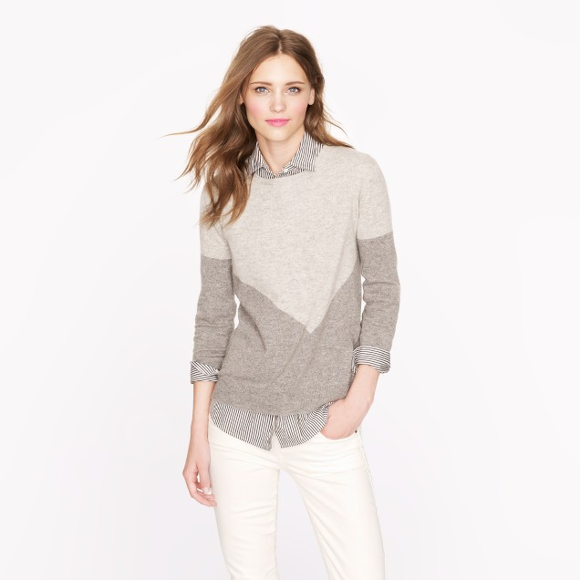 Collection cashmere button-back sweater in chevron