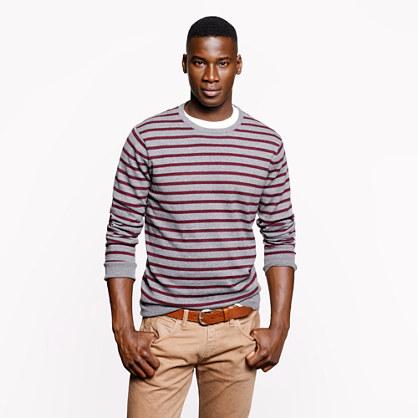 Cotton-cashmere sweater in heather zinc stripe