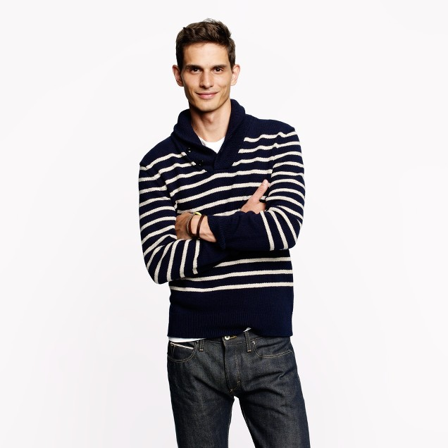 Shawl-collar sweater in navy stripe