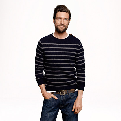 Wallace & Barnes buttoned sweater in stripe