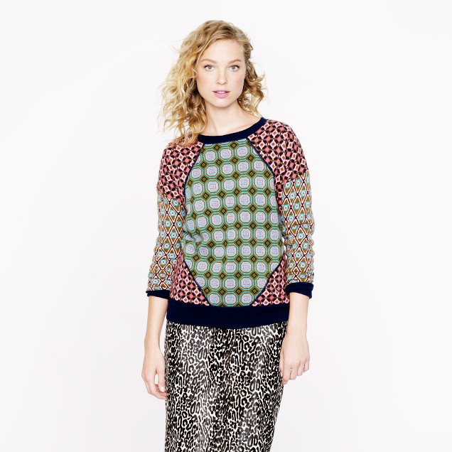 Collection cashmere tile sweater in moss