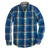 Wallace & Barnes heavyweight flannel shirt in blue haze plaid