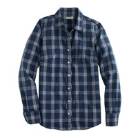 Boy shirt in indigo plaid