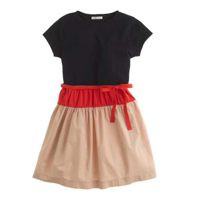 Girls' tee dress in colorblock