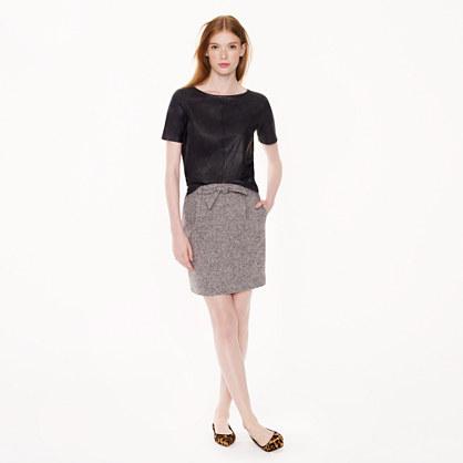 Tie-waist tweed mini