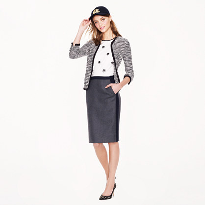 Petite No. 2 pencil skirt in tipped double-serge wool