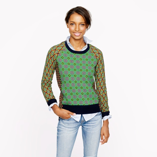 Collection cashmere tile sweater in lime