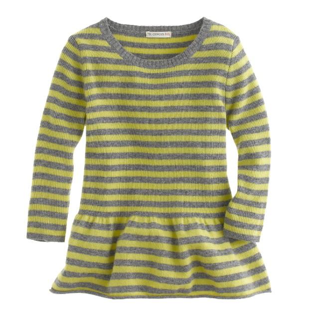 Girls' peplum sweater in stripe