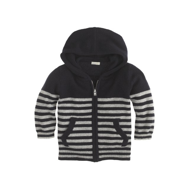 Cashmere baby hoodie in stripe