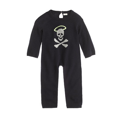 Baby cashmere one-piece in halo skull