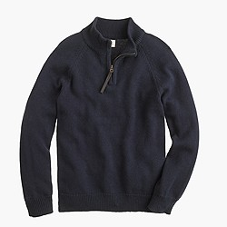 Boys' cotton-cashmere half-zip sweater