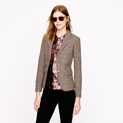 Petite schoolboy blazer in houndstooth tweed