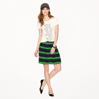 Silk skirt in beanstalk stripe
