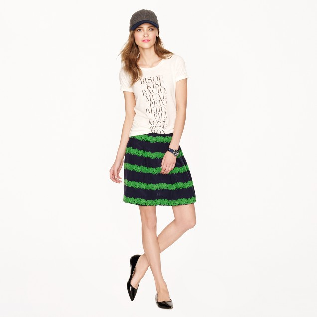 Silk skirt in beanstalk stripe