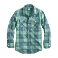 Boys' lightweight cotton flannel shirt in plaid