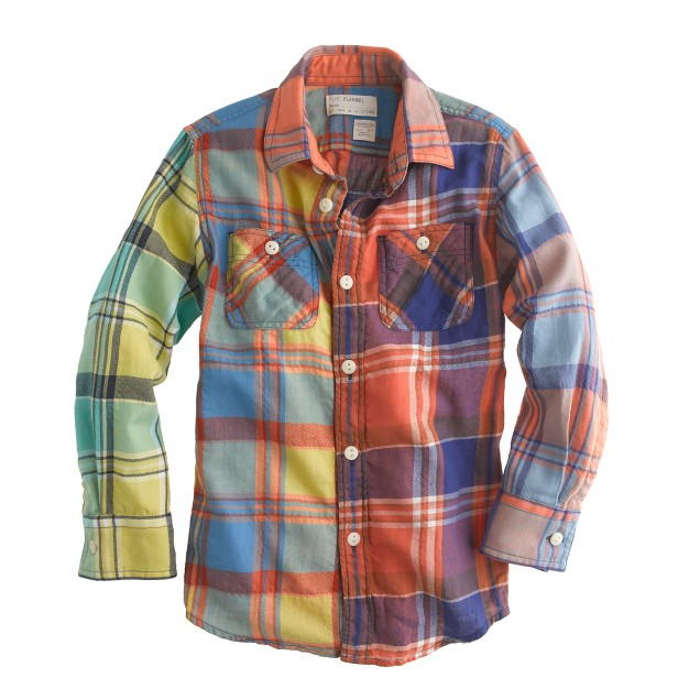 Boys' cotton flannel shirt in colorblock plaid